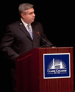 Clark College President Bob Knight delivers the 2012 State of the College Address