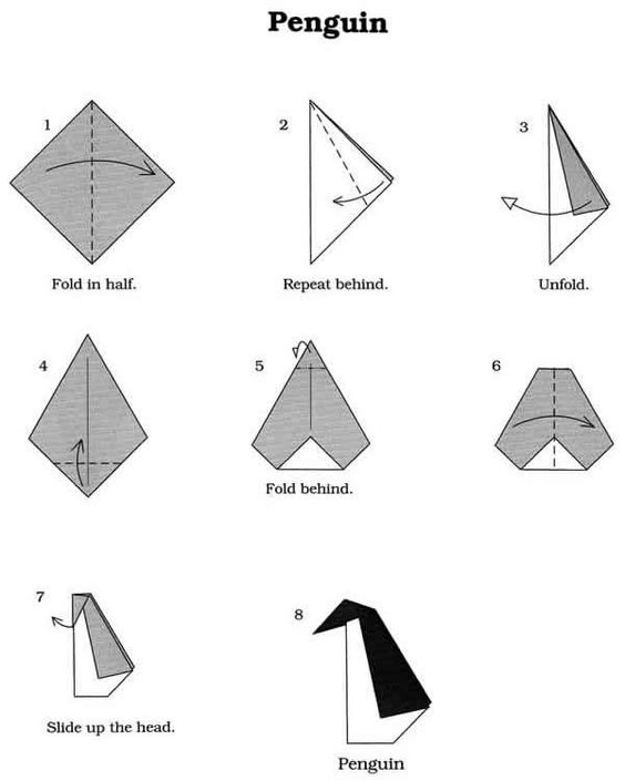 Origmai penguin steps