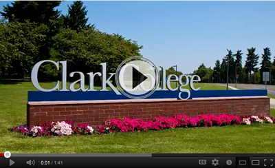 Clark College sign. First image in opening day video.