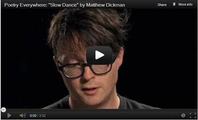 Still image from a YouTube clip of Matthew Dickman reading poetry. Features a link to take you to the video.