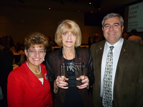 Left to right:  Clark College Foundation President/CEO Lisa Gibert, Executive Director of Communications and Marketing Barbara Kerr, and Clark College President Bob Knight celebrate the college�s recognition at PRSA Portland�s 2011 Spotlight Awards.