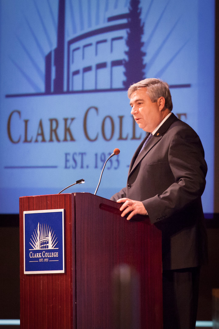 President Robert K. Knight delivering the 2013 State of the College Address
