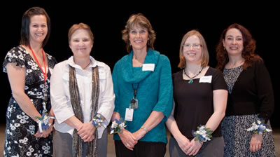 Clark College honored newly tenured faculty members (left to right) Dawn Shults, Meredith Moore, Jenefer King, Angie Marks and April Duvic.