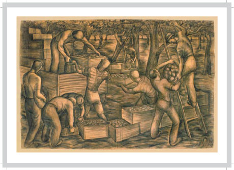 The Apple Pickers, charcoal on paper, 7' x 10.5', Proposal for Mural, 1939