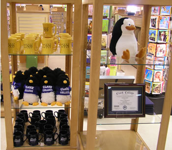 Penguin items in the Clark College Bookstore