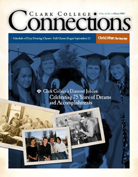 Cover of the fall 2008 issue of Clark College Connections