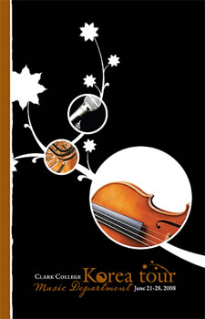Cover of the Clark College Music Department program for their summer 2008 tour in Korea