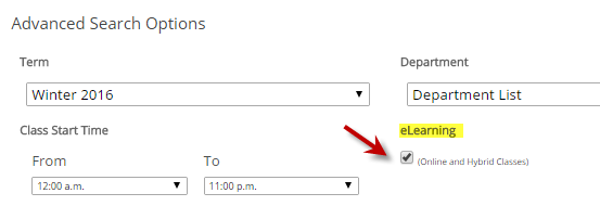 "Filter the online schedule by selecting ""Schedule Options"" and clicking on the eLearning checkbox."