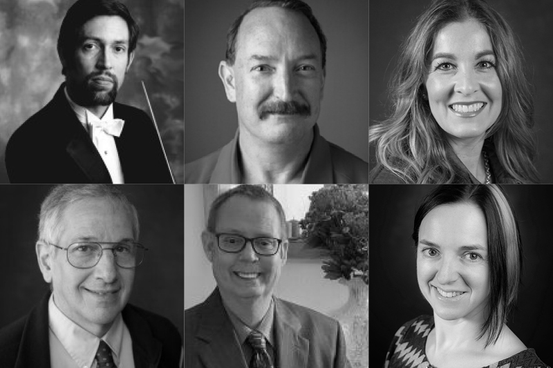 six head and shoulder photographs of faculty members Dr. Don Appert, Adam Coleman, Molly Lampros, Ken Luchini, Thomas Stevenson, and Lauren Zavrel