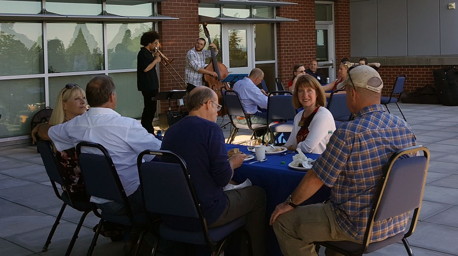 Advisory Committee Recognition Event 2017. Advisory committee members and Clark employees on STEM building rooftop.