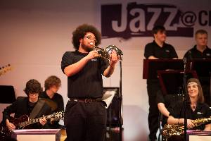Student performing at Jazz Festival