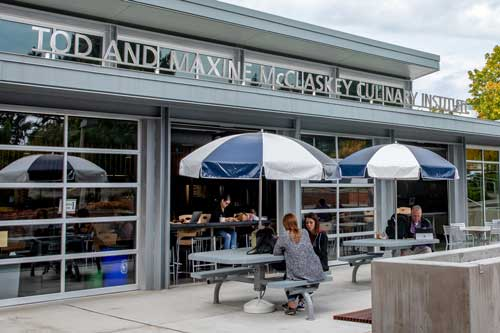 McClaskey Culinary Institute patio with tables.
