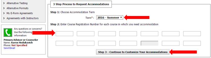 Arrows pointing to the term drop down menu, textboxes for course registration number, and continue button for customizing accommodations.