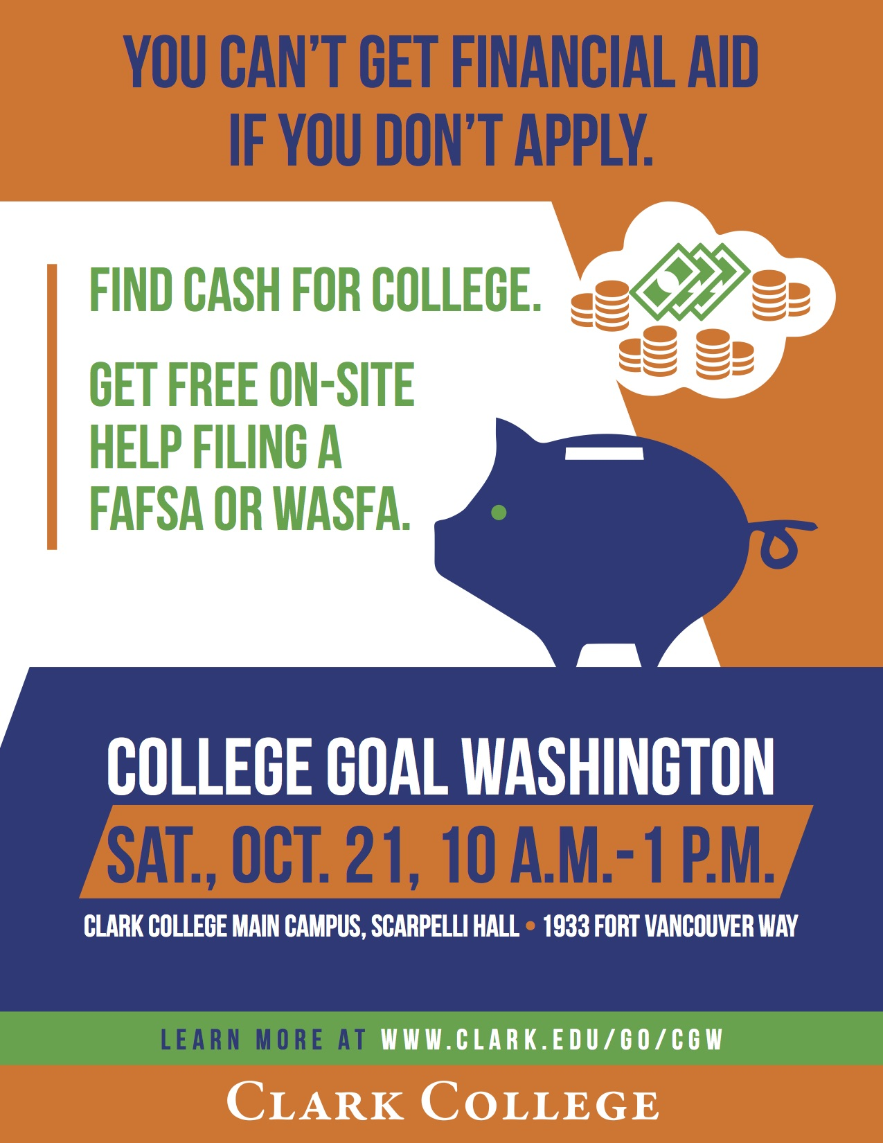 College Goal Washington poster with event information