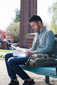 Student studying on a bench outside on campus.