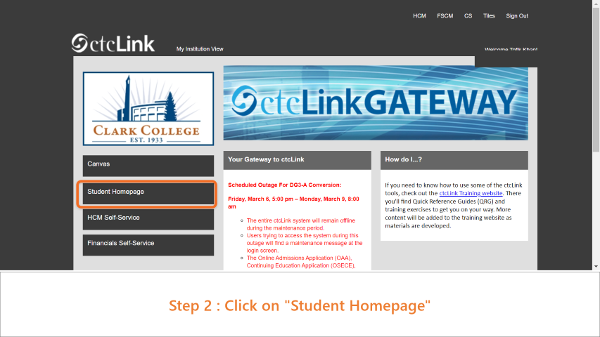 Step 2: Click on Student Homepage.