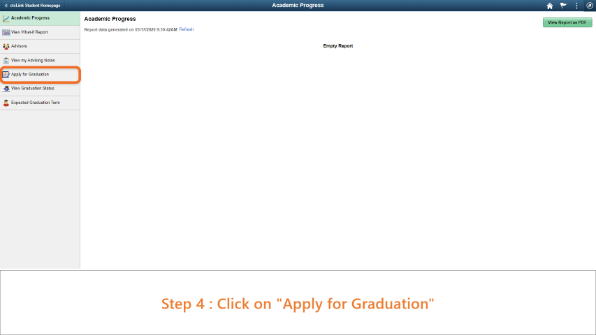 Step 4: Click on Apply to Graduate.