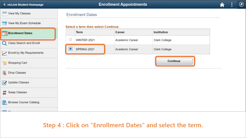 Step 4: Click on 'Enrollment Dates' and select the term you want to validate.