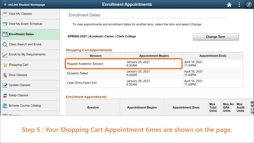 Step 5: Your 'Shopping Cart Appointments' show the date your can validate your classes.