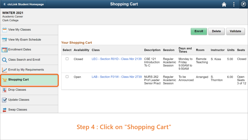 Step 4: Click on 'Shopping Cart'.
