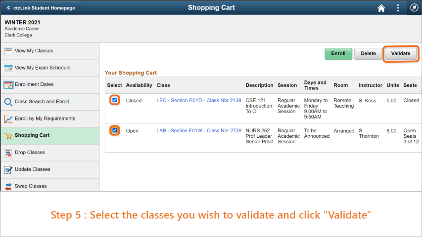 Step 5: Select the classes you wish to validate. Then, click 'Validate' button.