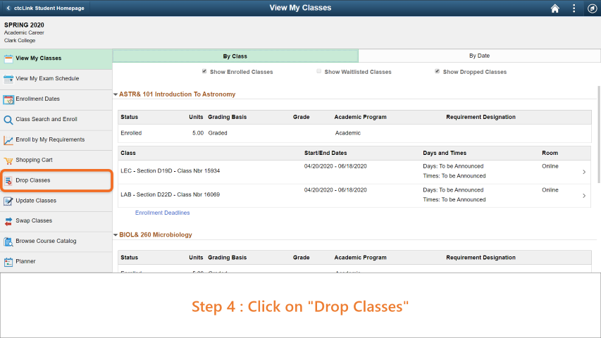 Step 4: On the side bar, click on 'Drop Classes'.