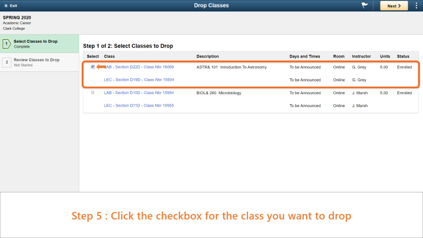 Step 5: Click the checkbox for the class you want to drop.