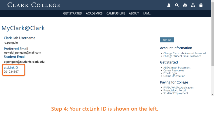 Step 4: Your ctcLink ID is shown on the left of the window