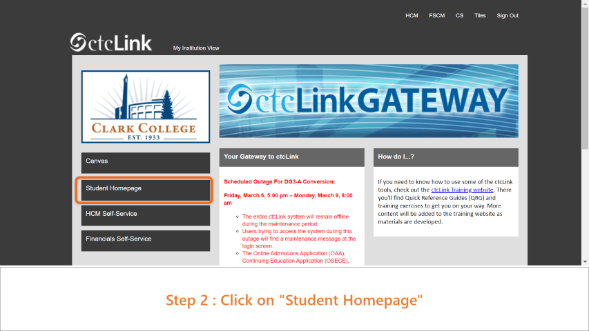 Step 2: Click on 'Student Homepage'