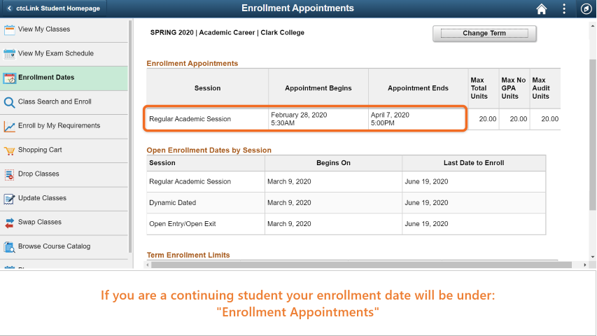 Step 5: If you are continuing student, your registeration date is under 'Enrollment Appointments'.
