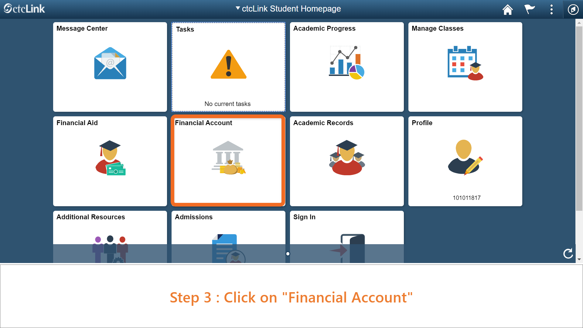 Step 3: Click on 'Financial Account'.