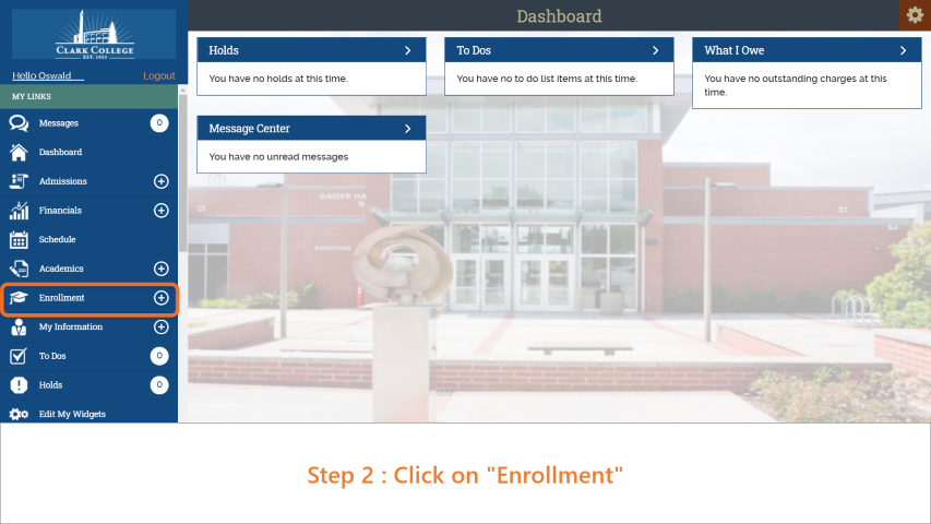 Step 2: On the sidebar, click on 'Enrollment'.