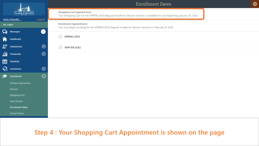 Step 4: Your verification date is shown on the page under 'Shopping Cart Appointment'.