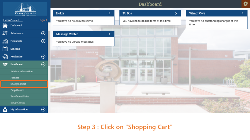 Step 3: From the dropdown, click on 'Shopping Cart'.
