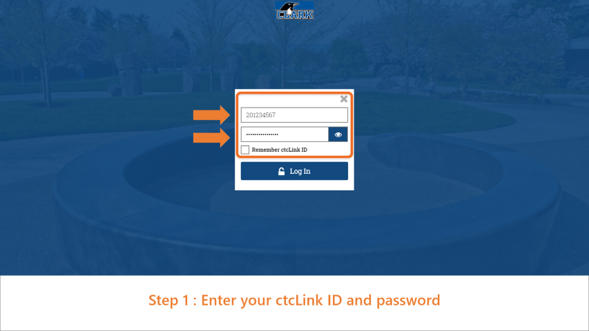 Step 1: Enter your ctcLink ID and password.