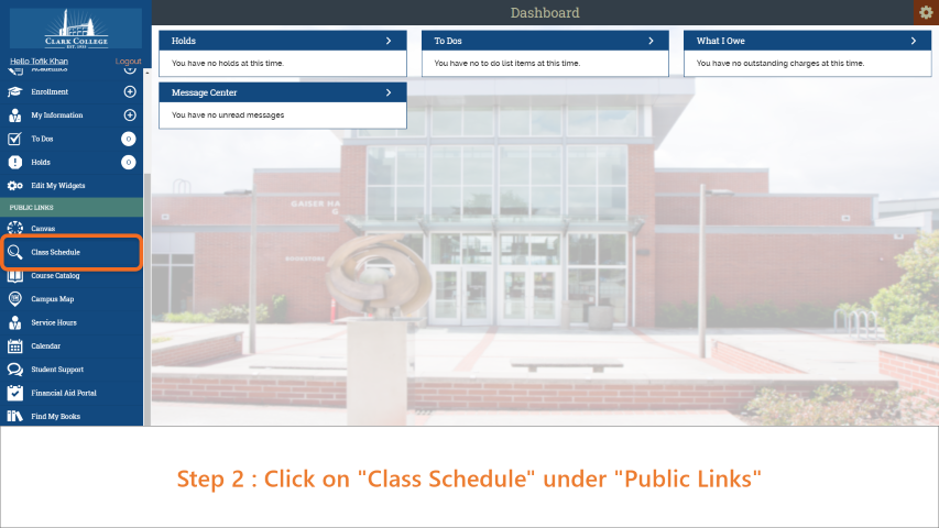 Step 2: On the sidebar, click on 'Class Schedule'.