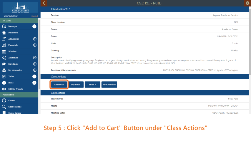 Step 5: Click 'Add to Cart' under 'Class Actions'.