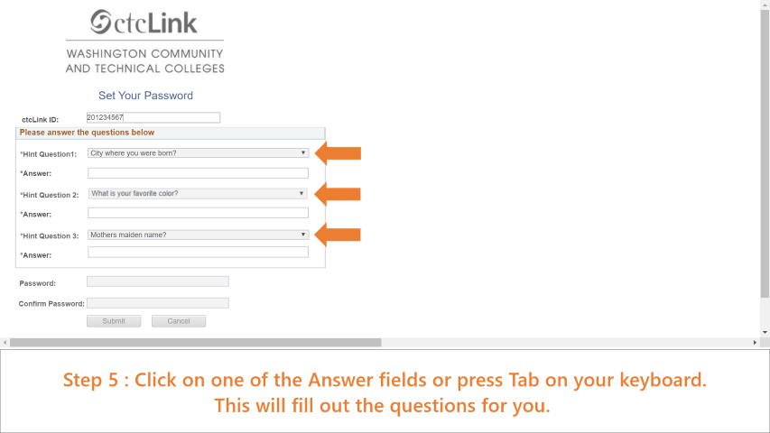 Step 5: Click on one of the answer fields or press tab. The questions will auto-populate.