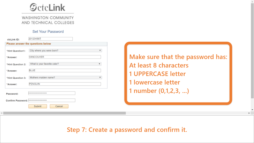 Step 7: Create a password making sure it is atleast 8 characters long, with at least 1 uppercase letter, at least 1 lowercase letter and at least 1 number