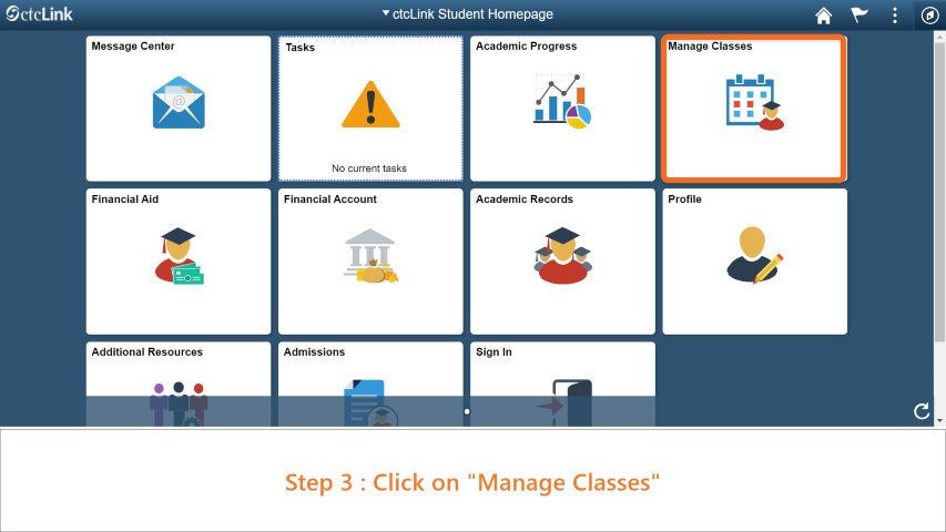 Step 3: Click on 'Manage Classes'.