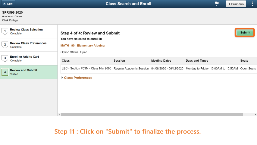Step 11: Click on 'Submit' to finish your enrollment