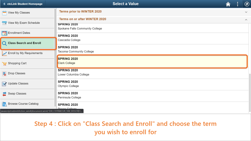 Step 4: Click on 'Class Search and Enroll' and choose the term you wish to enroll for.