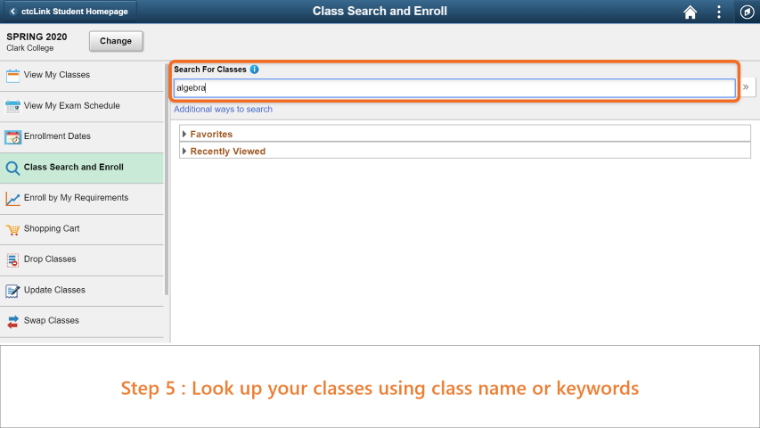 Step 5: Search for your class using class name or keywords.