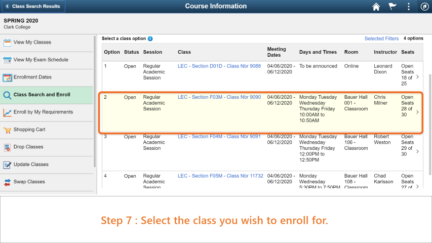 Step 7: Select the class you wish to enroll for.