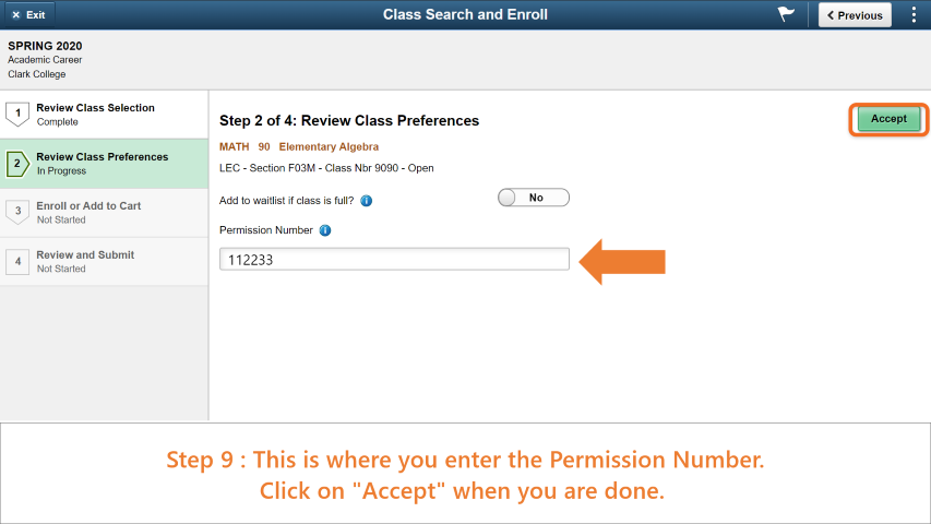 Step 9: Enter the permission number in the text box. Click 'Accept' when you are done.