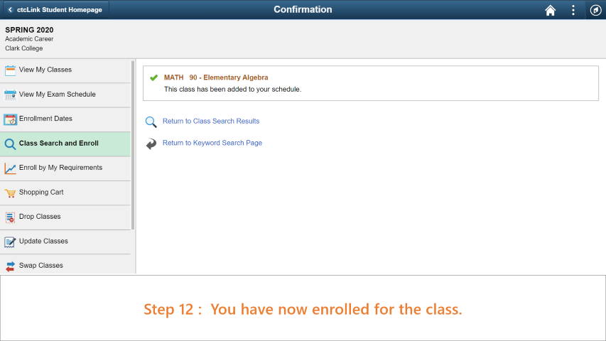 Step 12: You have succesfully enrolled for the class using the permission number.