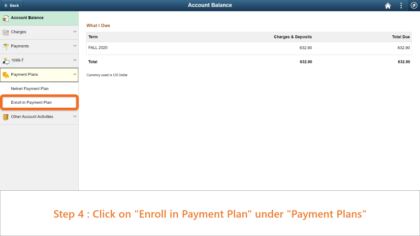 Step 4: Click on 'Enroll in Payment Plan' under 'Payment Plans'.