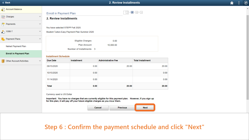 Step 6: Confirm the payment schedule and click 'Next'.