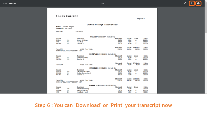 Step 6: Your Unofficial Transcript is shown in a new tab as a pdf document. You can download or print the document from here.