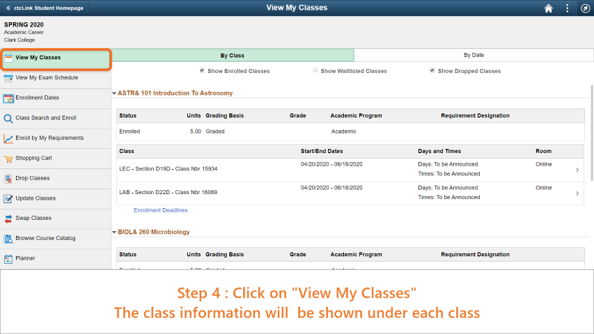 Step 4: On the sidebar, click on view my classes. Detailed class information will appear on the page under every class name.